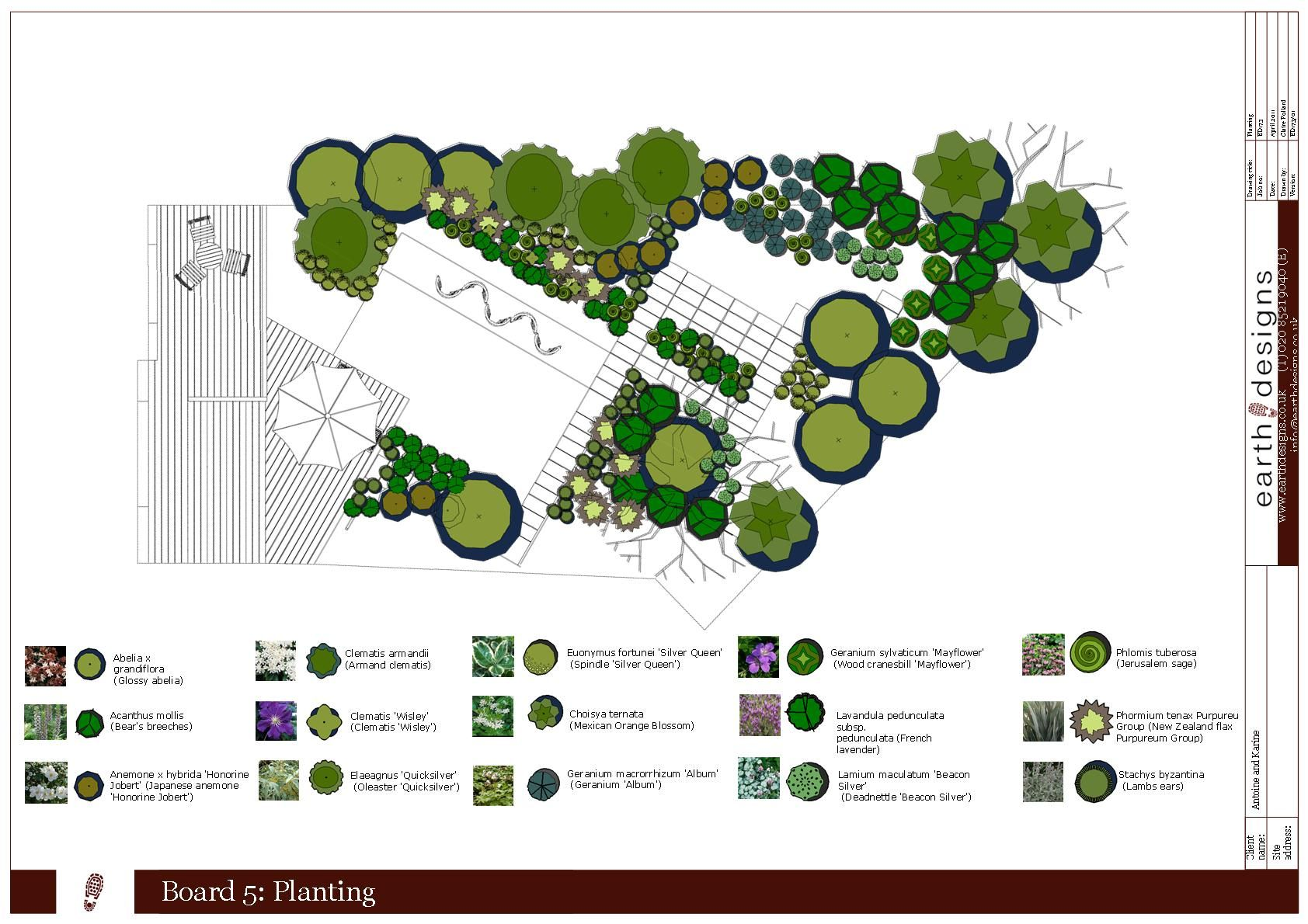 London kilburn planting plan design board rzuty for Garden design planting schemes