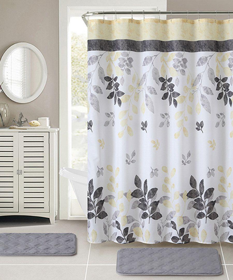 Look at this Yellow & Gray Chiara Shower Curtain, Hooks & Bath Rug ...