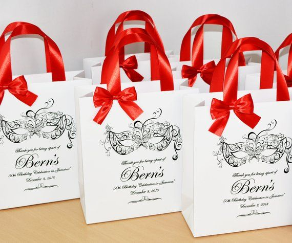 25 Masquerade Birthday Party Bags With Satin Ribbon Handles Bow And Your Name Chic Personalized Favor Elegant Paper Bag For Guests