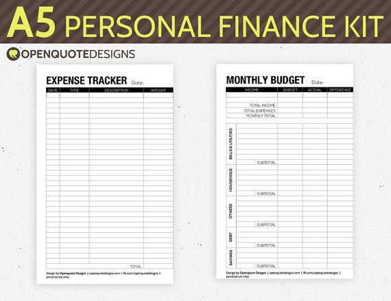 A Filofax Finance Printable Personal Finance By Openquotedesigns
