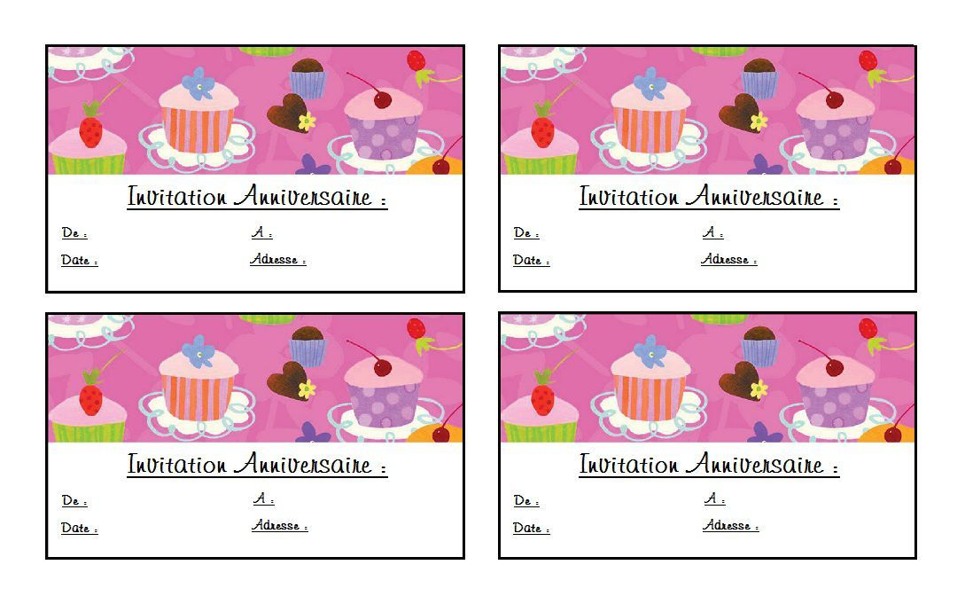Epingle Sur Carte Invitation Anniversaire