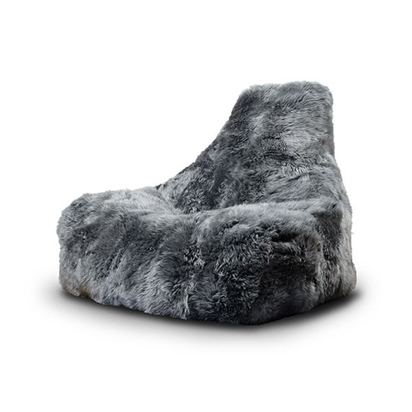 B-Bag mighty-b Fur Mammoth Schafsfell-Sitzsack Sessel Grau