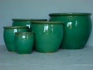 X-Large Round Green Glazed Ceramic Planter also available in
