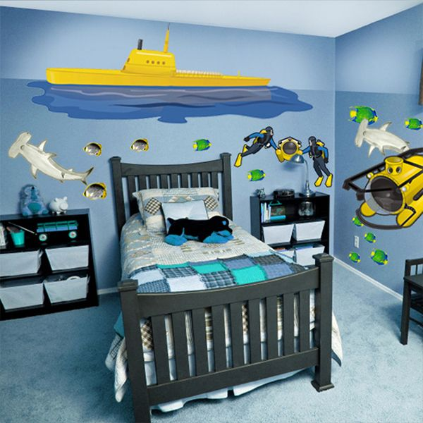 Boys room with submarine wall mural picture