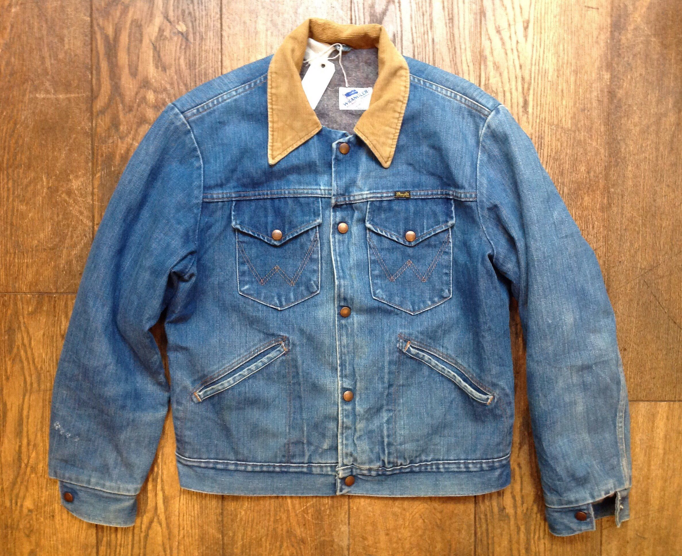 Vintage 1970s 70s Wrangler Denim Jacket Corduroy Collar Blanket Lined Western Cowboy 44 Chest Sanforized Made In Usa By Thedustb Menswear Denim Jacket Jackets