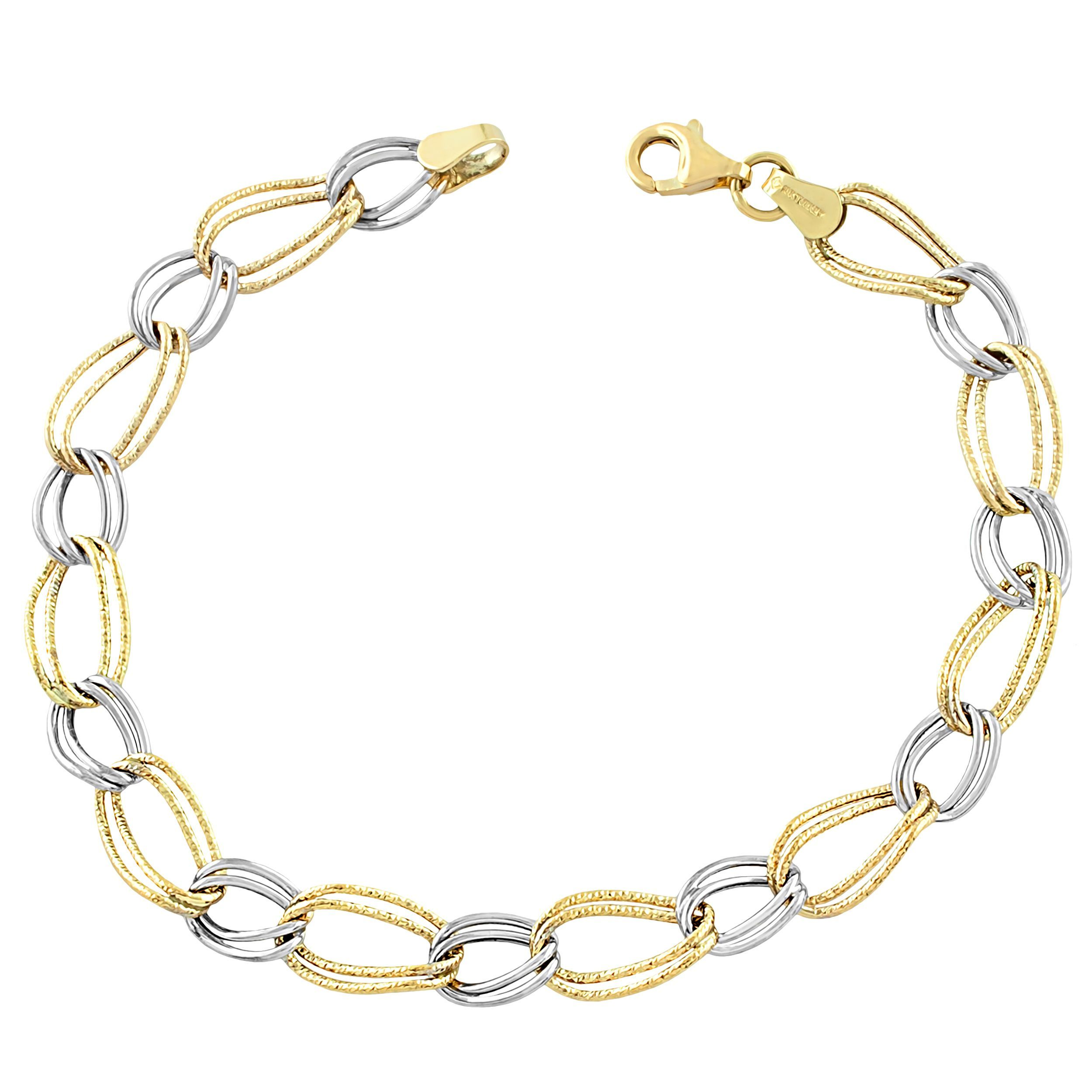 cut curb products double gold diamond bracelet img yellow sided link