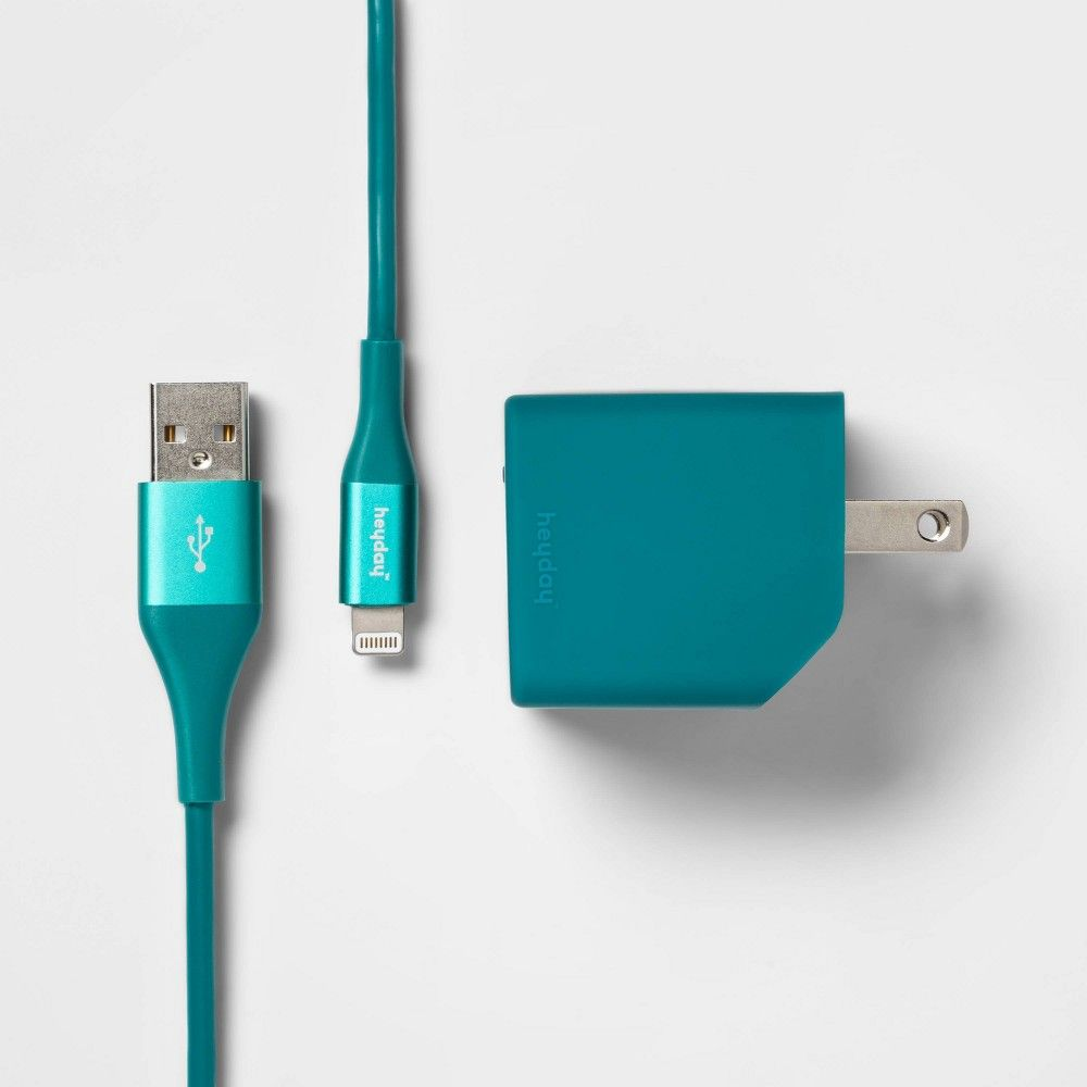 Heyday 2 Port Wall Charger Usb A Usb C With 6 Cable Dark Teal In 2020 Wall Charger Usb Dark Teal