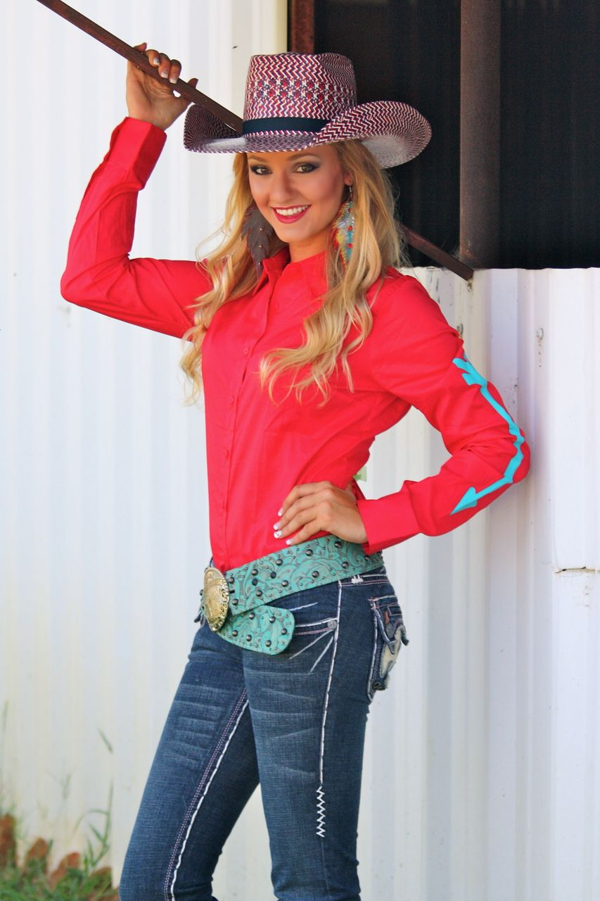 red rodeo shirt with turquoise arrows  ranch dress'n