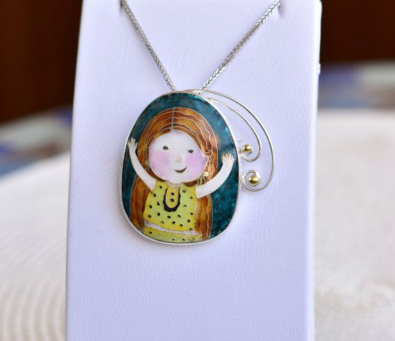 Gapchinska - ciondolo bambina, in argento, smalto