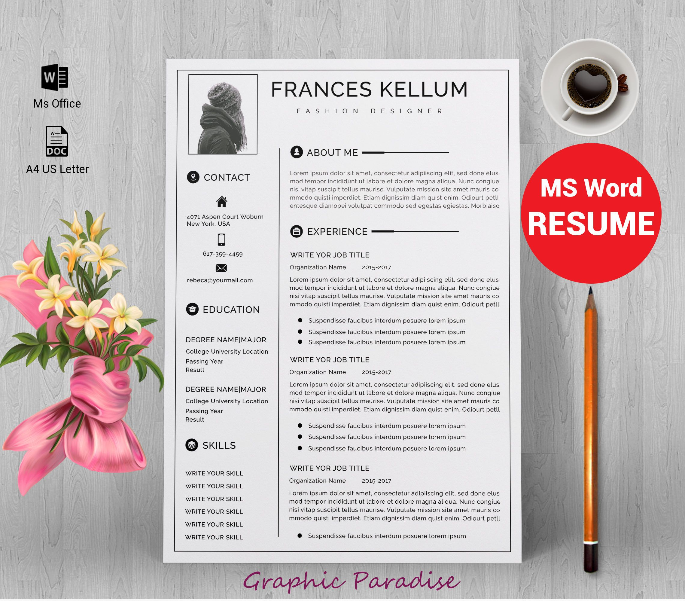Resume Template Instant Download, Professional Resume Template, Resume  Template Word, Modern Resume Template