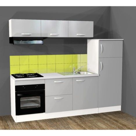 cuisine quip e spring 240 cm gris alu lectrom nager inclus cuisine. Black Bedroom Furniture Sets. Home Design Ideas