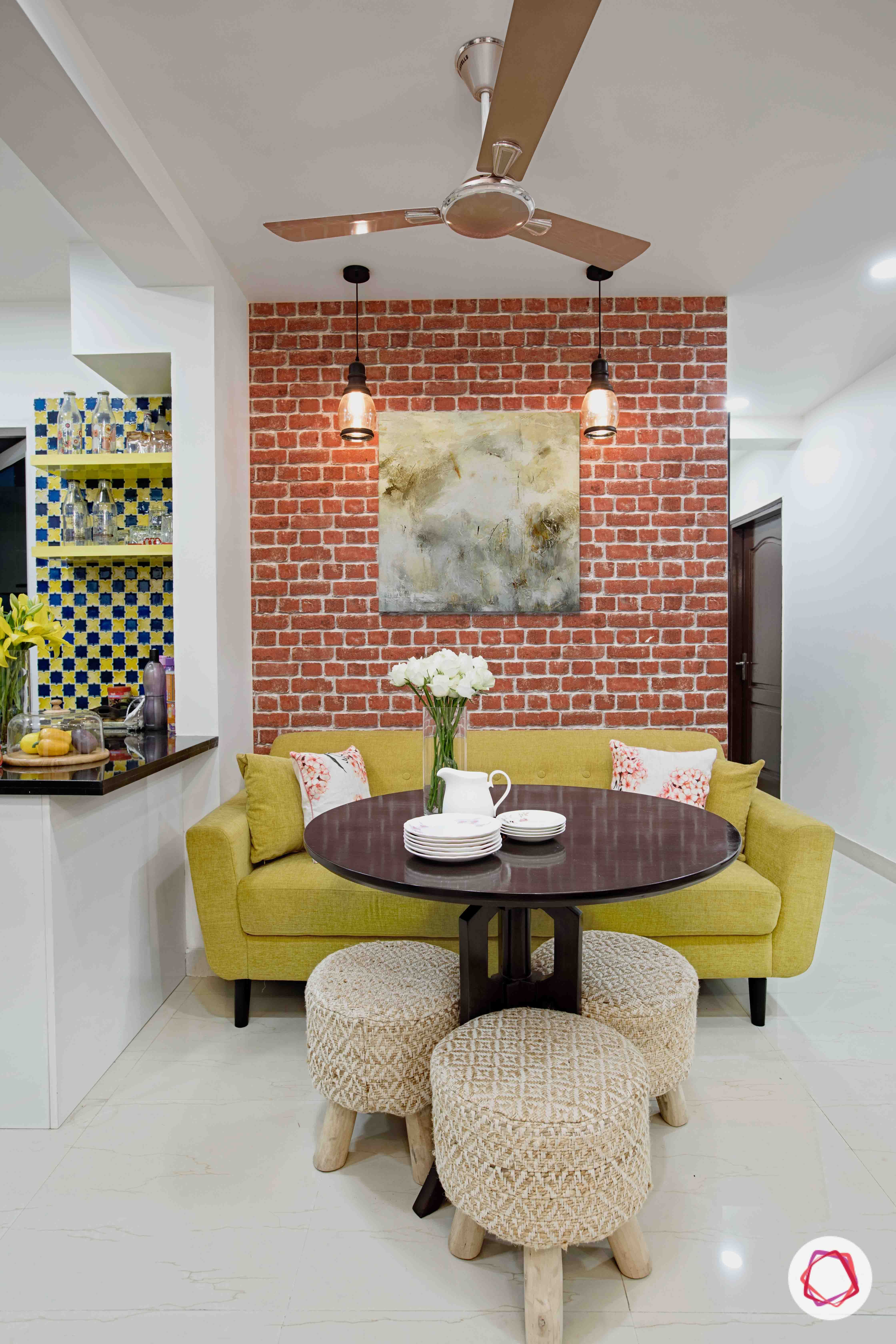 The Perfect Spot To Grab A Cuppa With Your Loved Ones Brickwall Industrial Yellowsofa Dining Openkit Indian Home Decor Kitchen Decor Apartment Interior