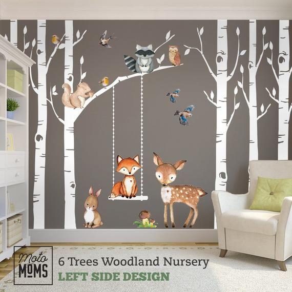 Woodland Nursery Wall Decor 6 Birch Trees Fox Friends Fox Deer Owl Squirrel Bunny Raccoon Birds Wall Decal Neutral