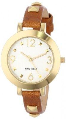 69ffdfd468265 Relógio Nine West Women s NW 1498SVBN Gold-Tone Pyramid Studded Brown Strap  Watch  Relógio  Nine