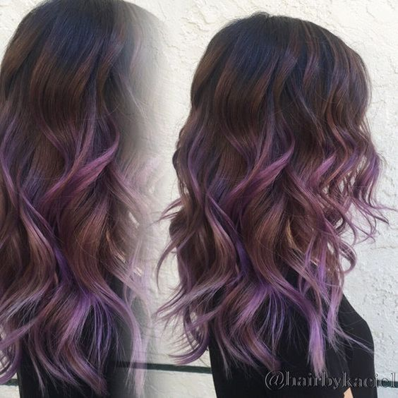 Top 20 Hair Color Ideas For Brown Black Hair You Ombre Curly Hair Hair Styles Purple Ombre Hair