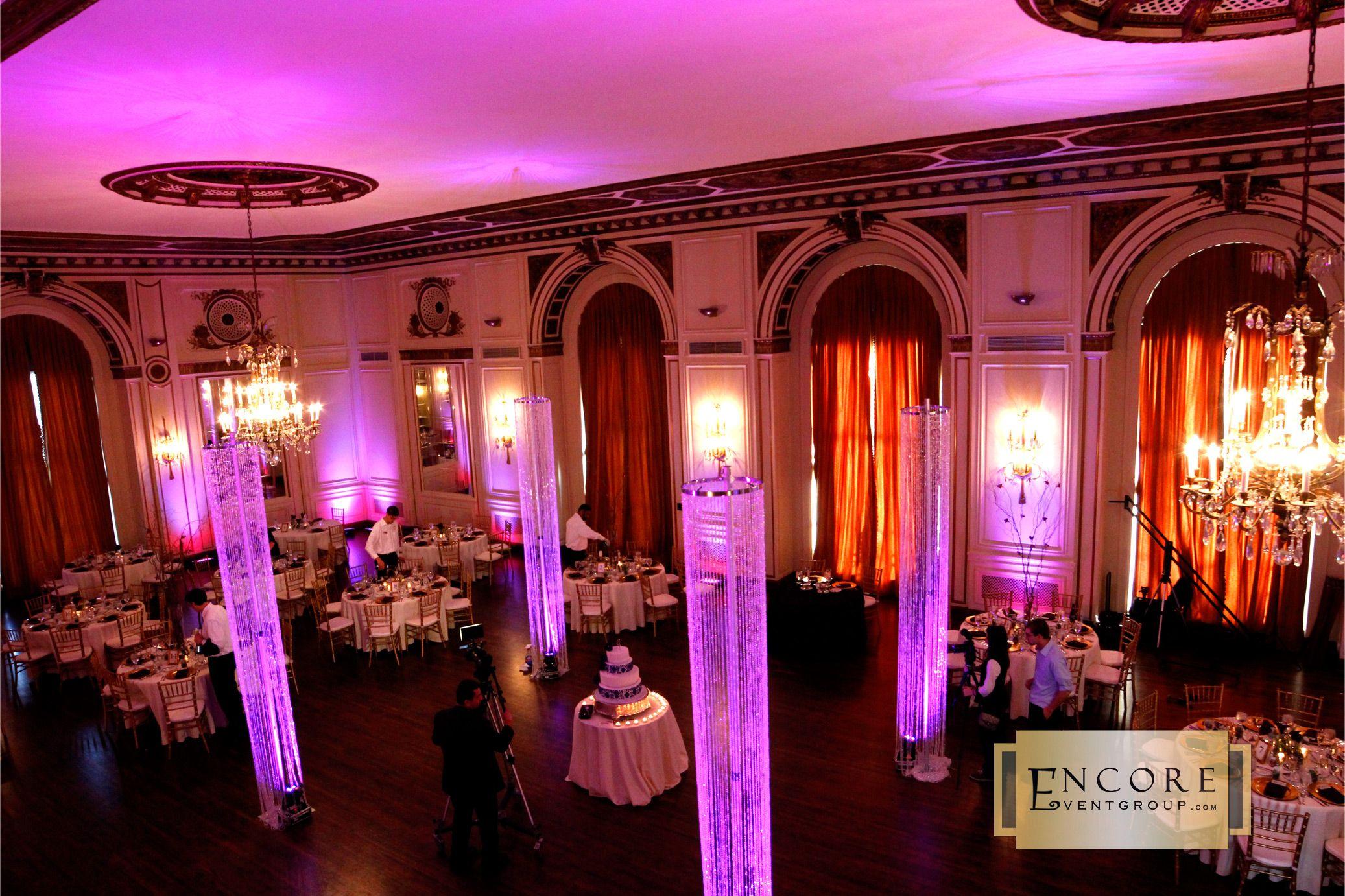 Pink Crystal Chandeliers Detroit Colony Club Wedding Reception