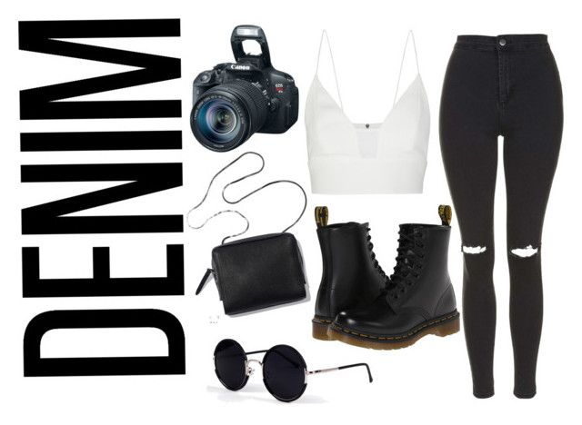 """""""DENIM"""" by mayepcqng ❤ liked on Polyvore featuring Narciso Rodriguez, Dr. Martens, Topshop, Eos and Una-Home"""
