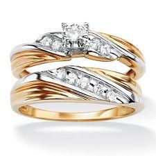 18k Gold/Silver Tutone Cubic Zirconia Wedding Ring Set