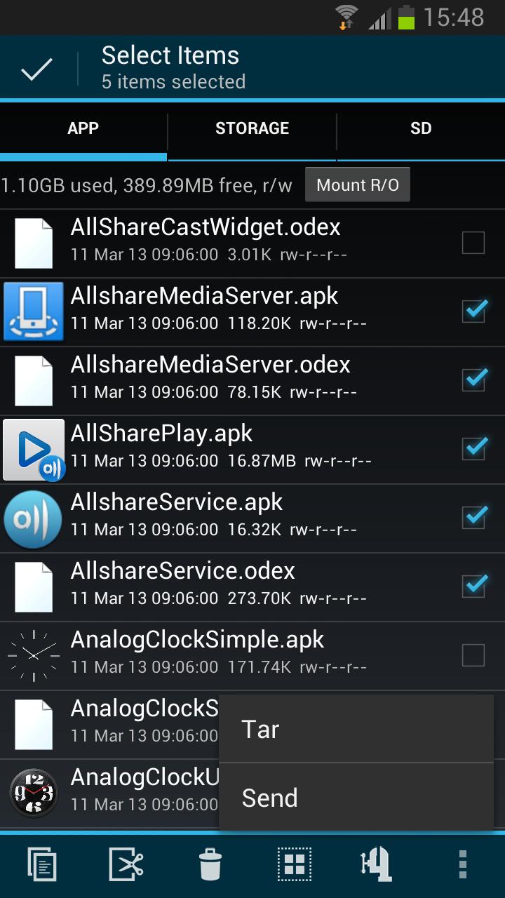 Root Explorer:- Multi-select files and folders, Compress