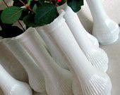 Vintage Milk Glass Bud Vases: 8 Piece Collection