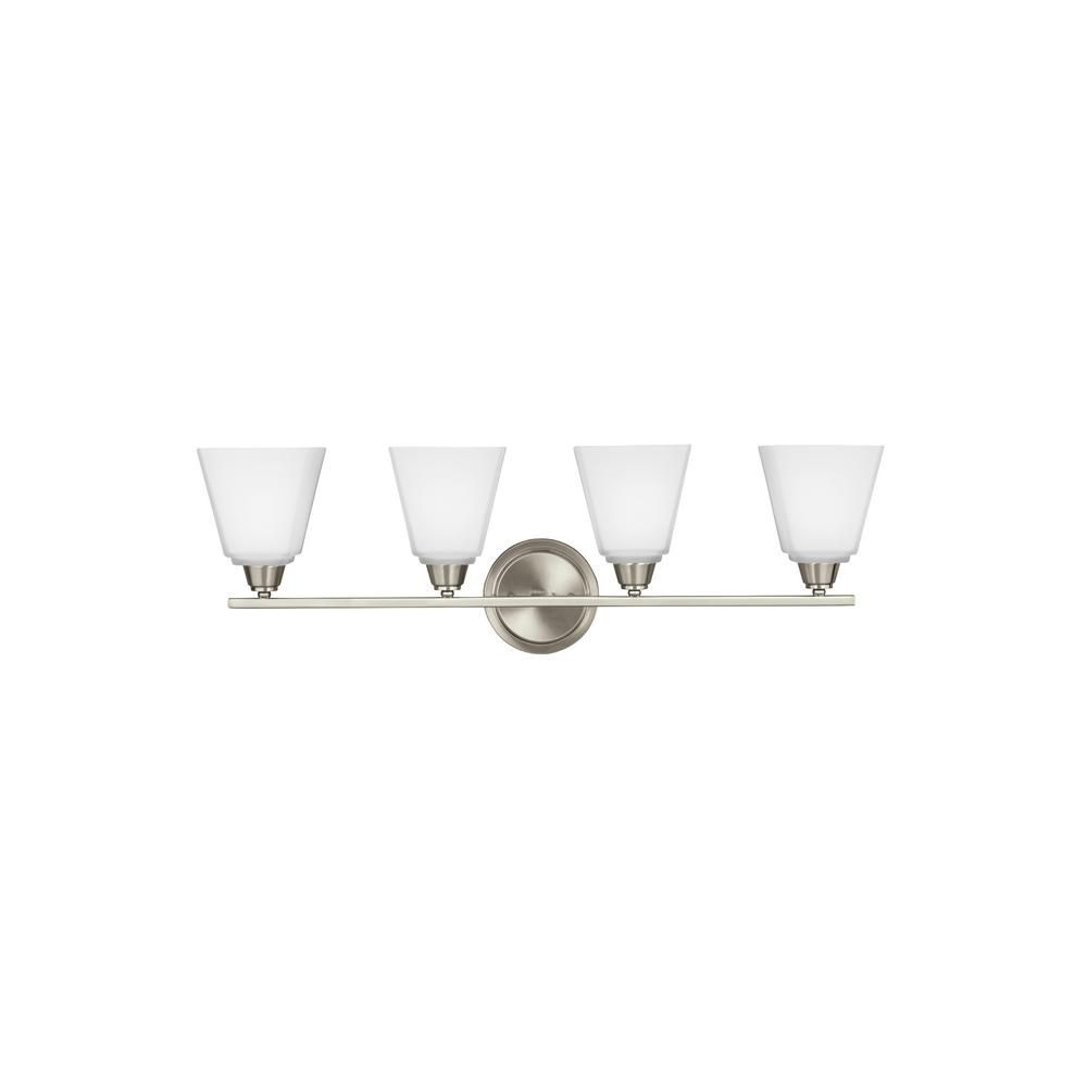 Photo of Sea Gull Lighting Parkfield 4-Light Brushed Nickel Bath Light with LED Bulbs-4413004EN3-962 – The Home Depot