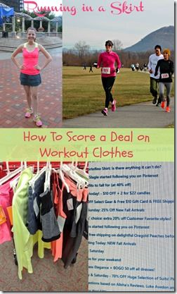 5 Ways to Score a Deal on Workout Clothes. The best places to find a deal on fitness, workout and running clothes.  Where I find pieces for less than $10! / Running in a Skirt