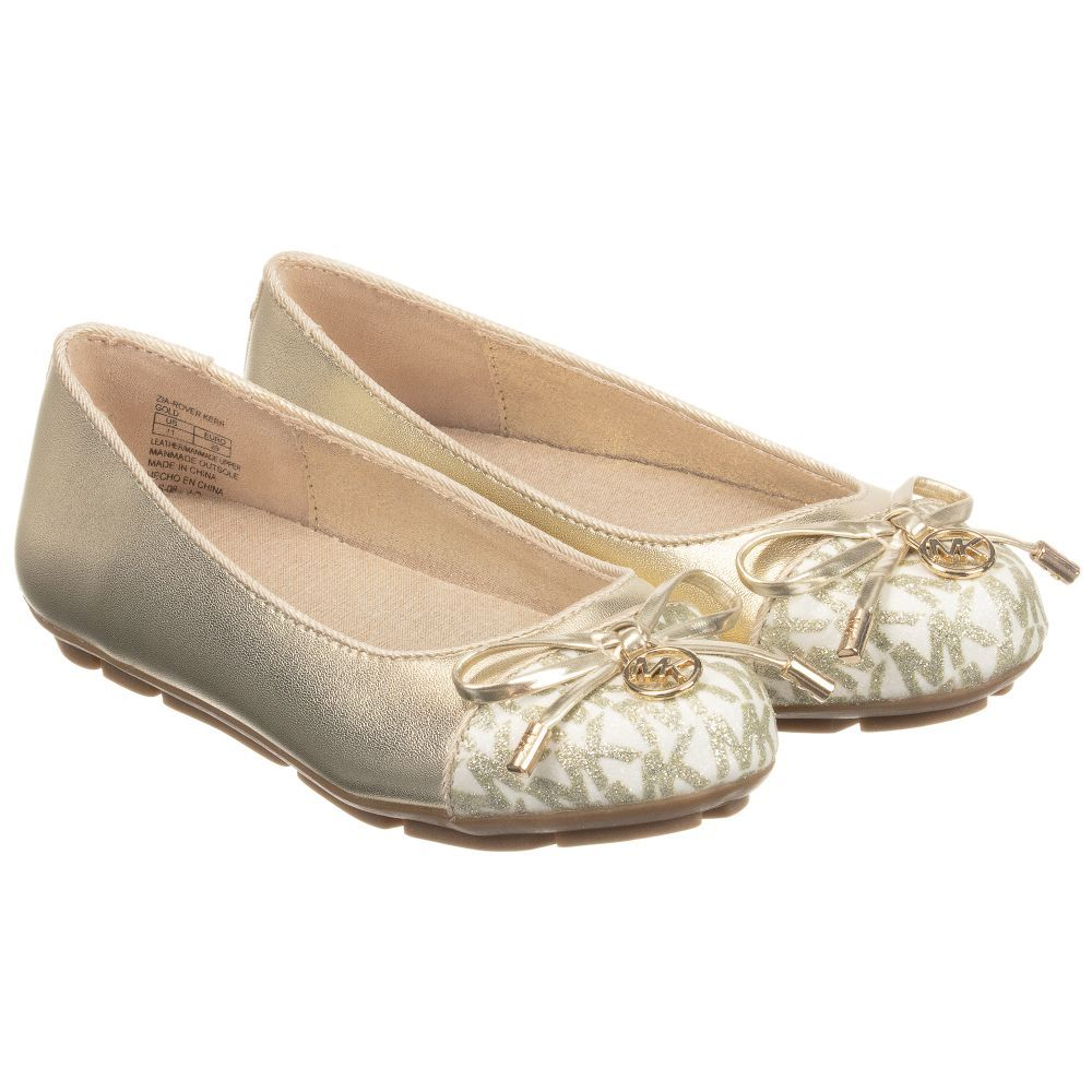 98eac7c05bde Girls gold ballerina shoes from Michael Kors