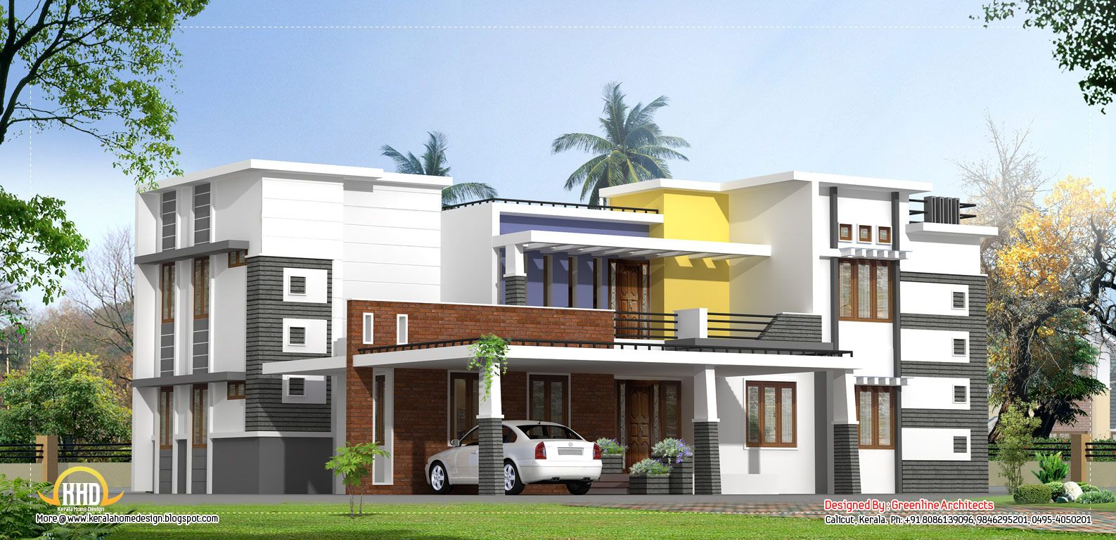 Latest front elevation of home designs google search for Indian house front balcony design