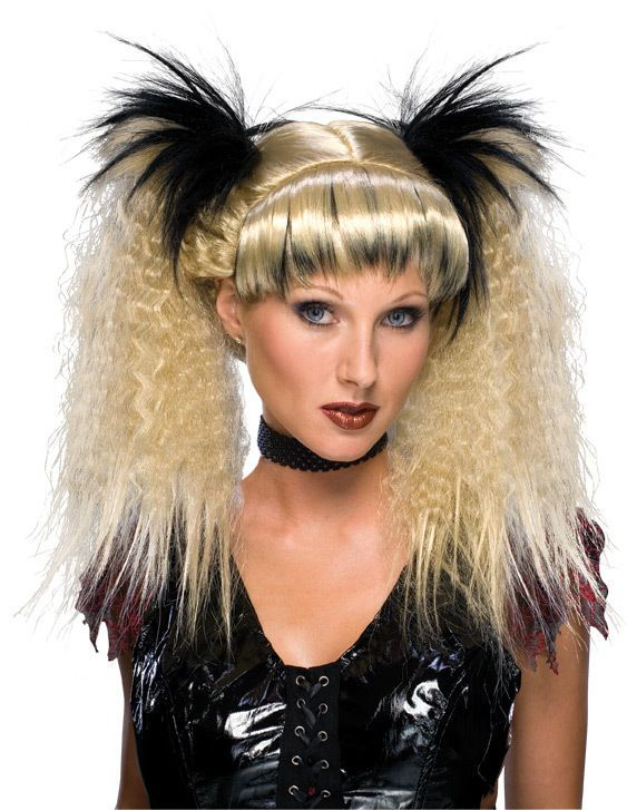 Futuristic Witch Wig Rave Anime Blond Black Dress Up Halloween Costume Accessory