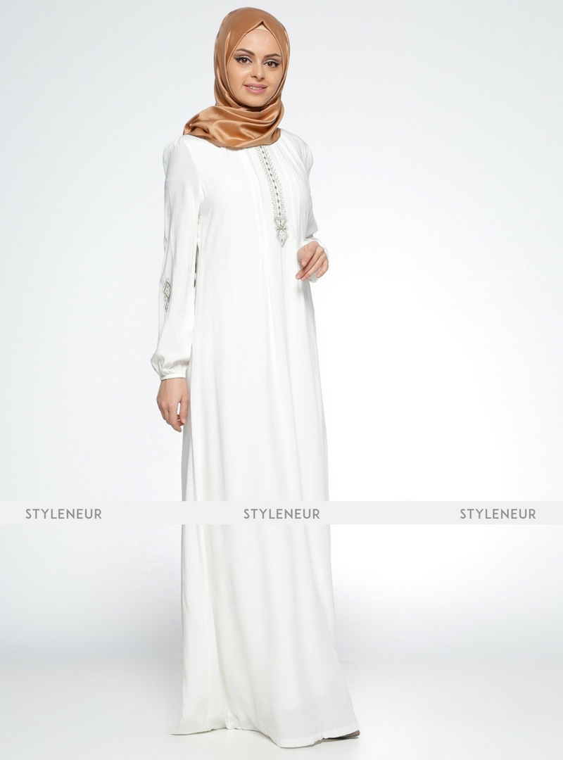 8d607fae4120b Beautiful White Embroidered Viscose Full Sleeves White Dress, Shop Modest  dresses, abayas, hijabs, hijab evening dresses at Styleneur.