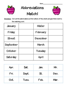 Abbreviations Matching Worksheet--cut and paste | 4 Little ...