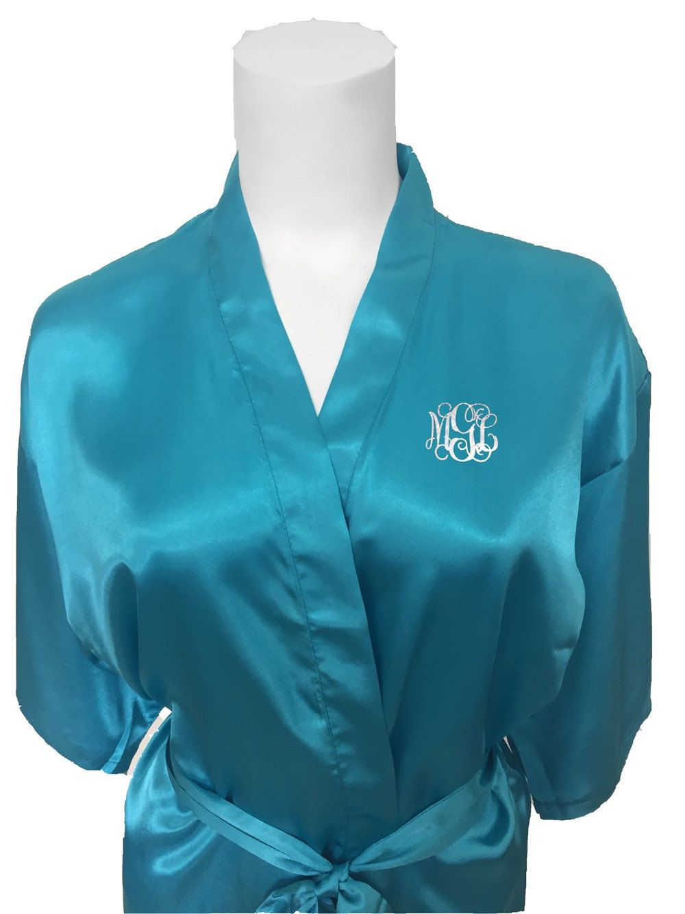 Turquoise Bridal Party Robe...Monogram Mother of the Bride Robe...Bridal  Robe...Getting Ready Robe...Wedding Robes...Bridal Satin Robe... by ... 9d0560f9e
