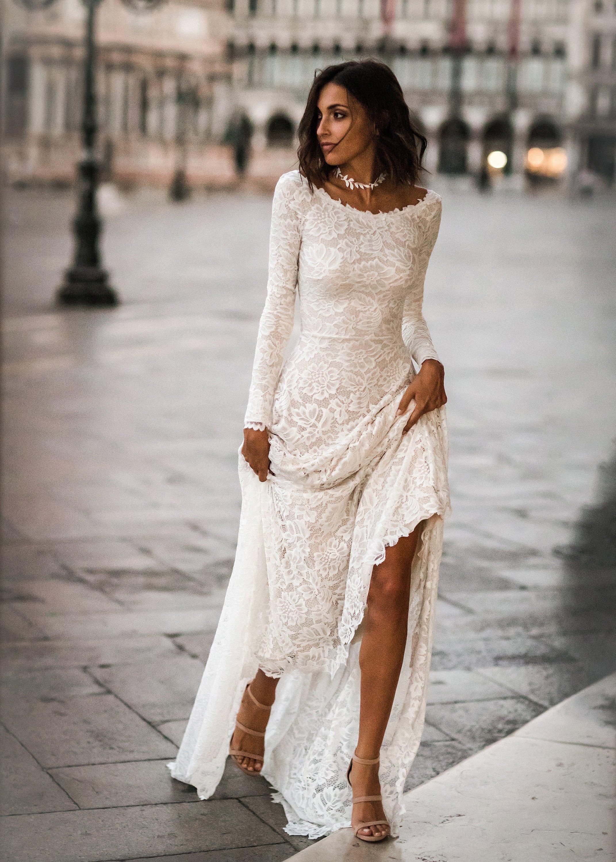 Boho Wedding Dress, Barca Collo Abito Matrimonio, Scoop Indietro Abito Da Sposa, Pizzo Maniche lunghe, Abito da Sposa a maniche lunghe – Abito Giada