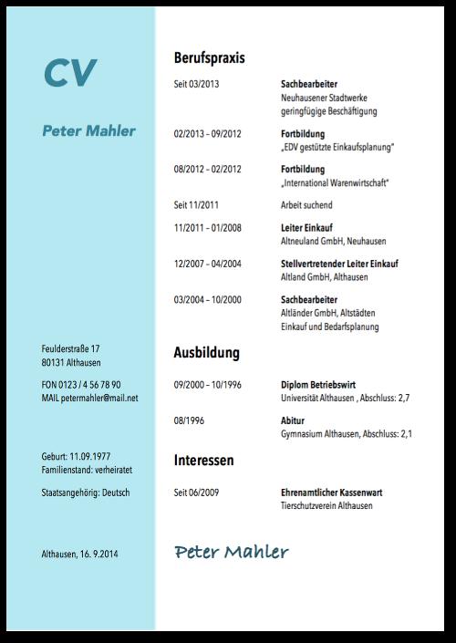 Tabellarischer Lebenslauf: Gratis-Vorlagen & Tipps | Lebenslauf ...