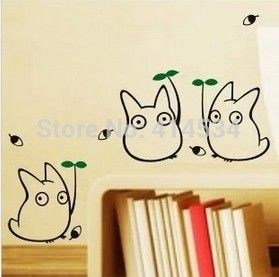 Decorative Removable Totoro Wall Stickers Decal For Home Stairs Sticker  Decals Black Stickers Chambre Wall Decor Kitchen