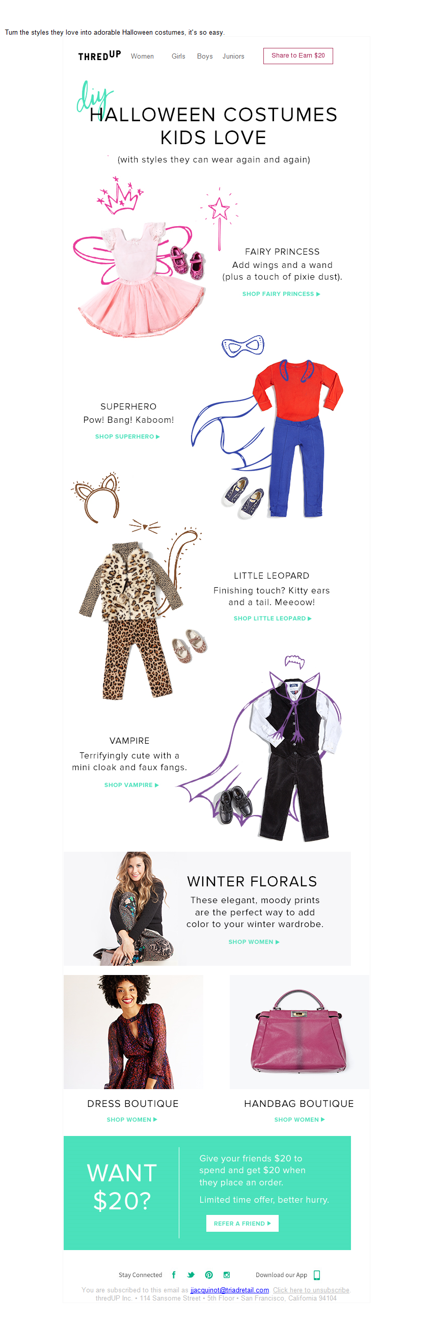 ThredUp Halloween Email // DIY: Halloween Costumes Kids Love // Sent 10-07-2015 6:42 AM