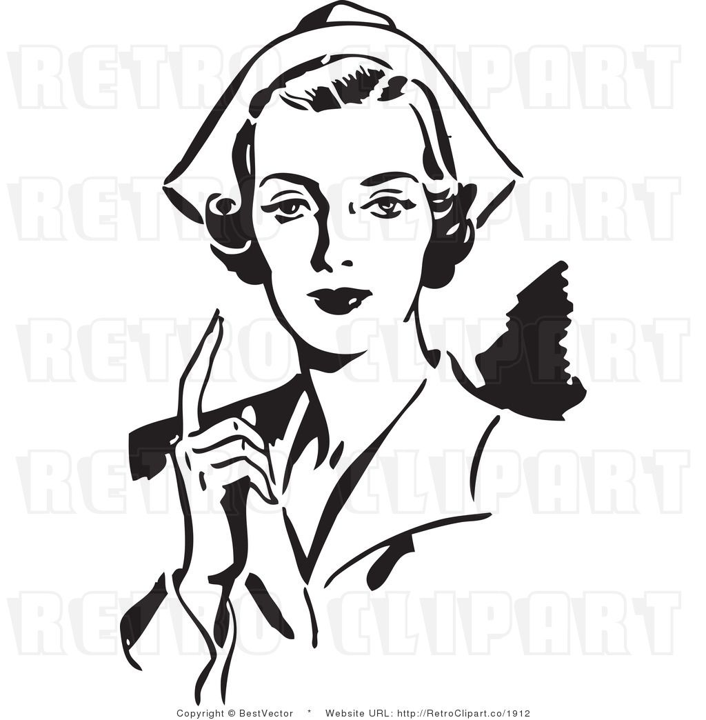 Line Drawing Nurse : Royalty free black and white retro vector clip art of a