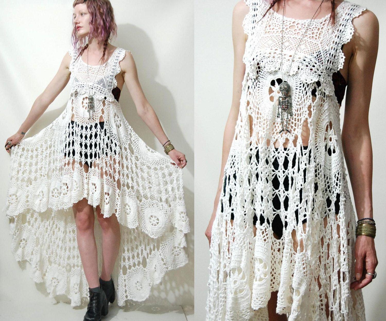 crochet dress vintage lace white fishtail train bohemian hippie cotton scallop wedding handmade. Black Bedroom Furniture Sets. Home Design Ideas