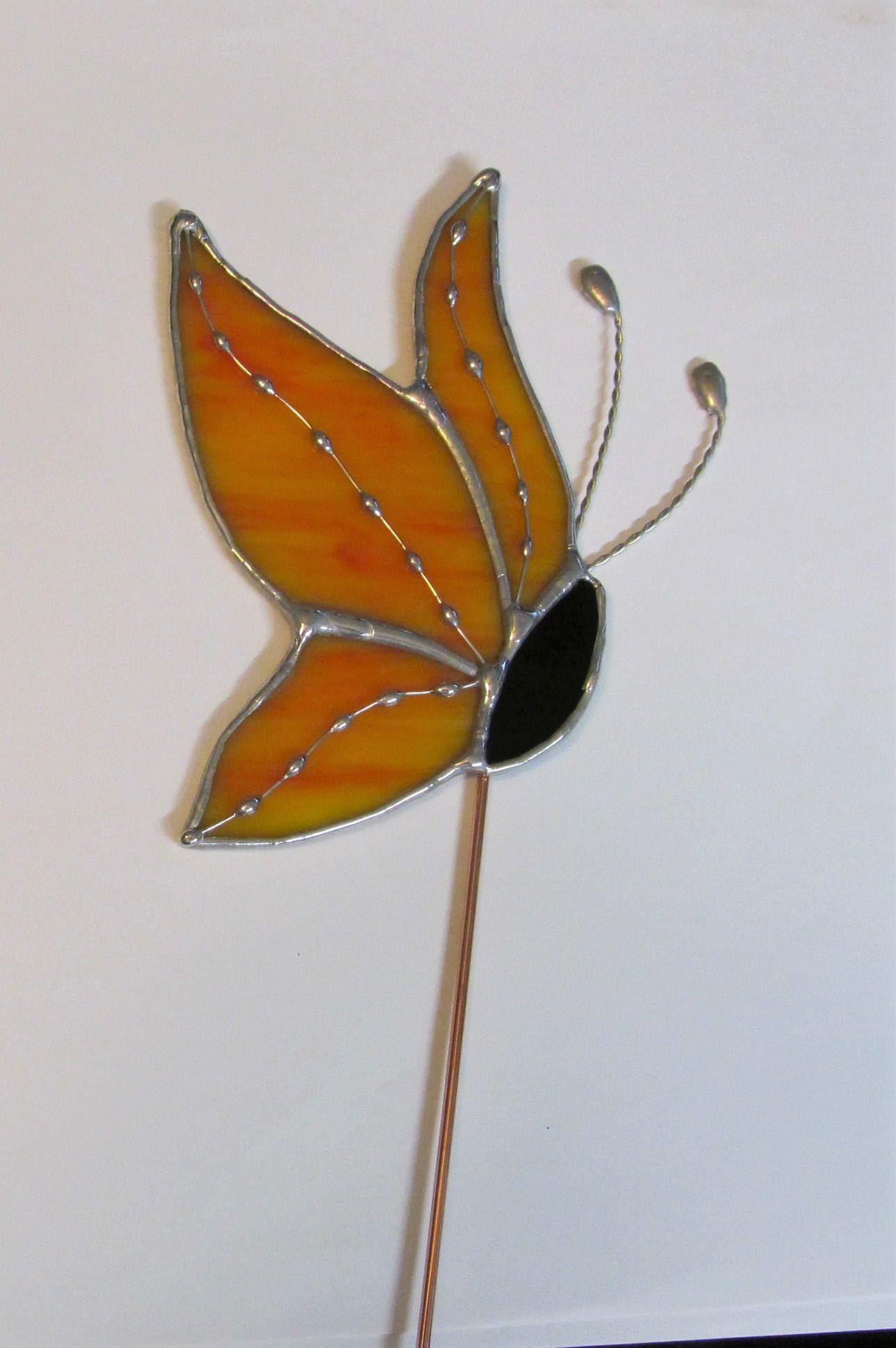 Orange, Yellow Swirled Opalescent Stained Glass Side View Butterfly ...