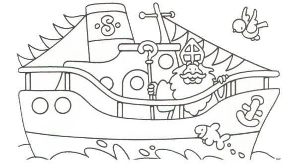 Kleurplaten Sinterklaas Stoomboot.Sinterklaas Kleurplaat Sint Boot Stoomboot Vlaggetjes Work Crafts