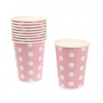 10 Paper Party Cups (pink dotty)