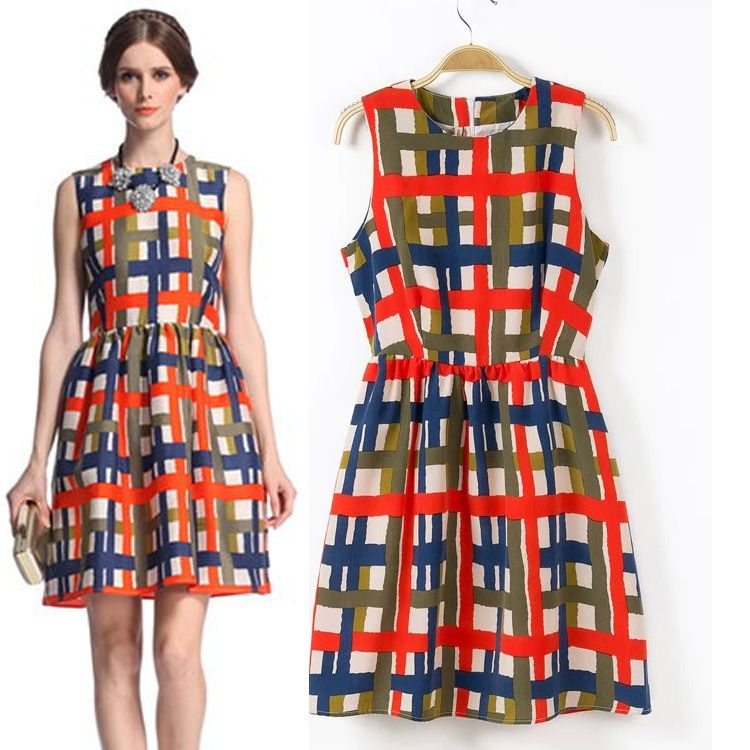 Blue Red Elegant Plaid Pattern Slim Sleeveless dress