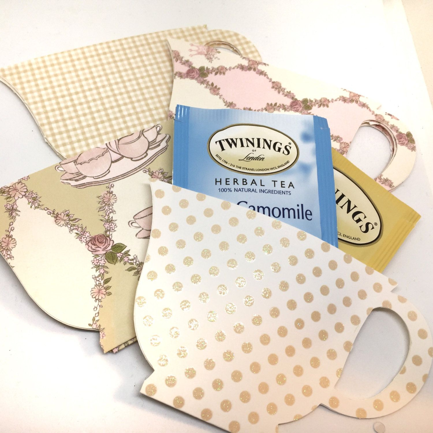 Tea Bag Favors - Tea Bag Holders - Cottage Tea Cup - Set of 12 ...