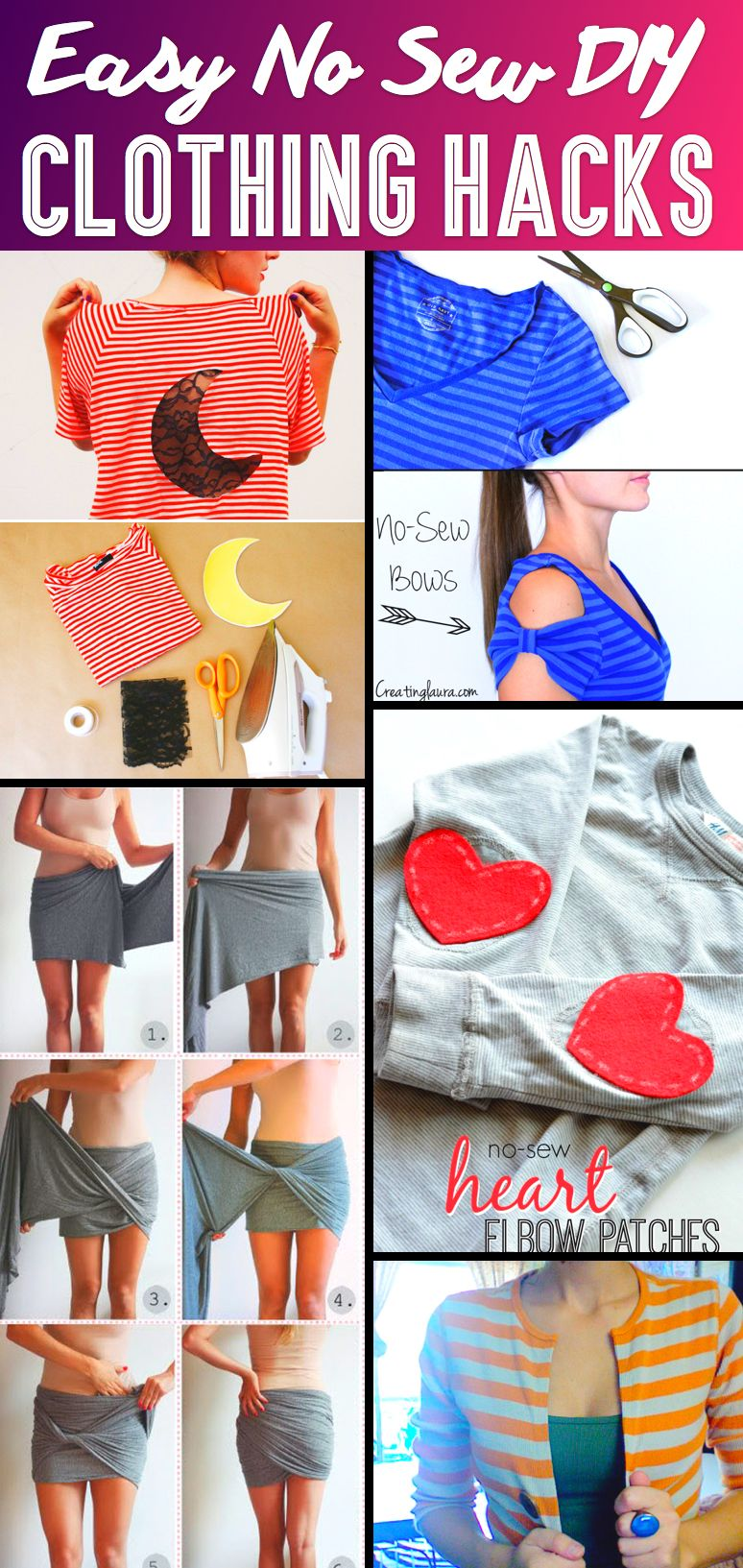 37 Truly Easy No Sew DIY Clothing Hacks - Clothing hacks, Diy sewing, Cute diy projects, Wine bottle diy crafts, Diy clothes videos, Diy clothes - 1  DIY NoSew Cardigan If an old shirt with colors and patterns that you absolutely love doesn't fit you perfectly anymore, you don't have to discard it  Instead, you can transform it into something new, that too without the hassle of complicated sewing  This tutorial teaches you how to turn a tee into a cardigan …