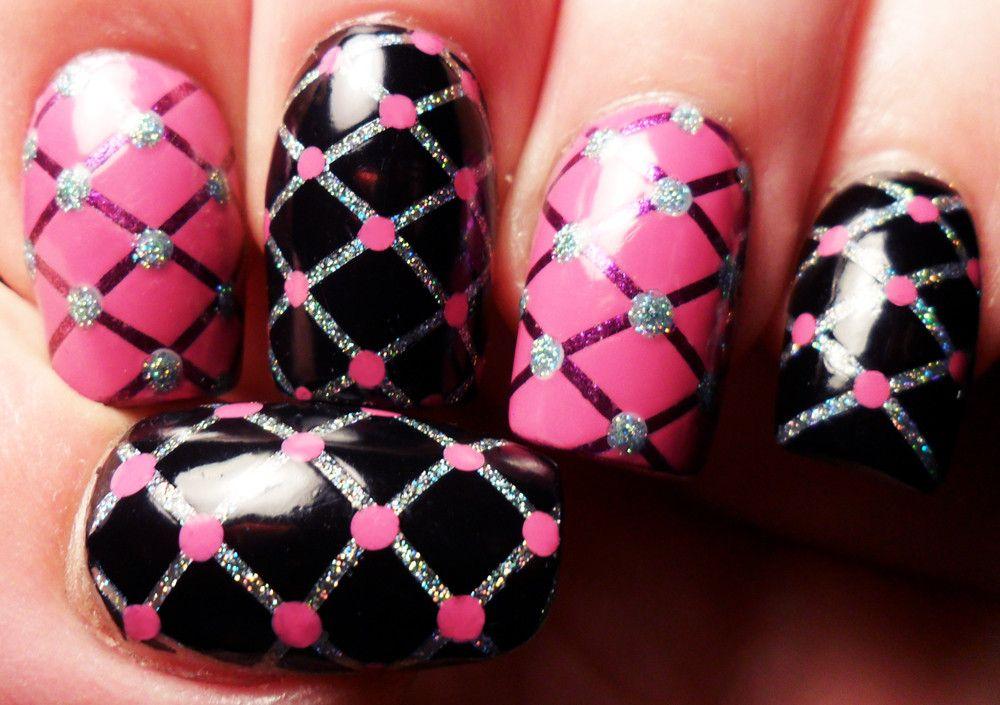 Quilt Nail Art In Pink And Black Nails Nailart Nails
