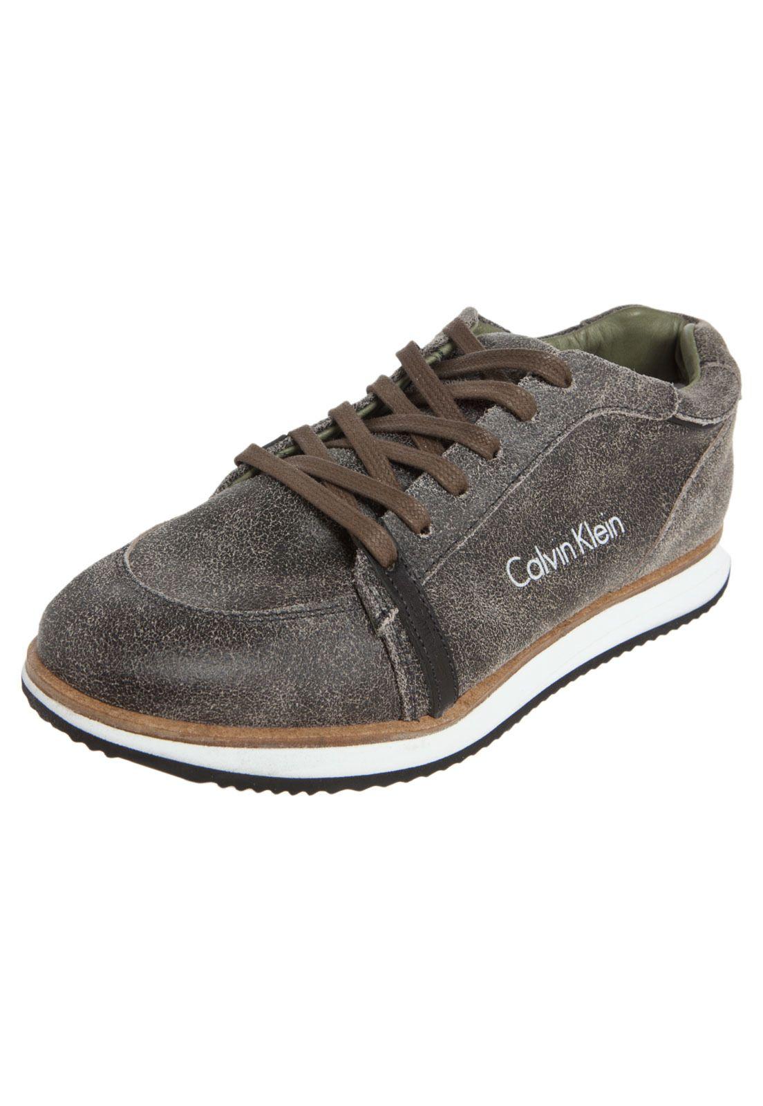 e0457b3f36a Tênis Calvin Klein Huen Marrom - Compre Agora