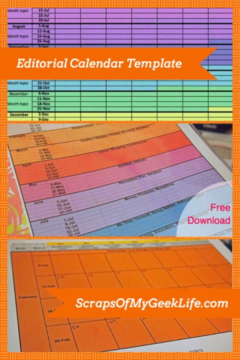 Free Editorial Calendar Template Download For Your Blog (2014 Updated) - Scraps of My Geek Life