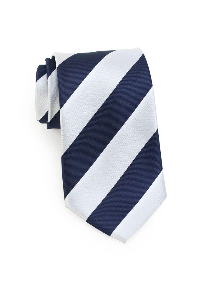 425c35a568c9 Navy Blue and Light Silver Striped Necktie | Collegiate Stripe Ties ...
