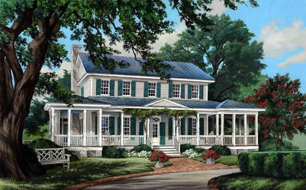 Colonial cottage country farmhouse southern traditional for Classic southern house plans