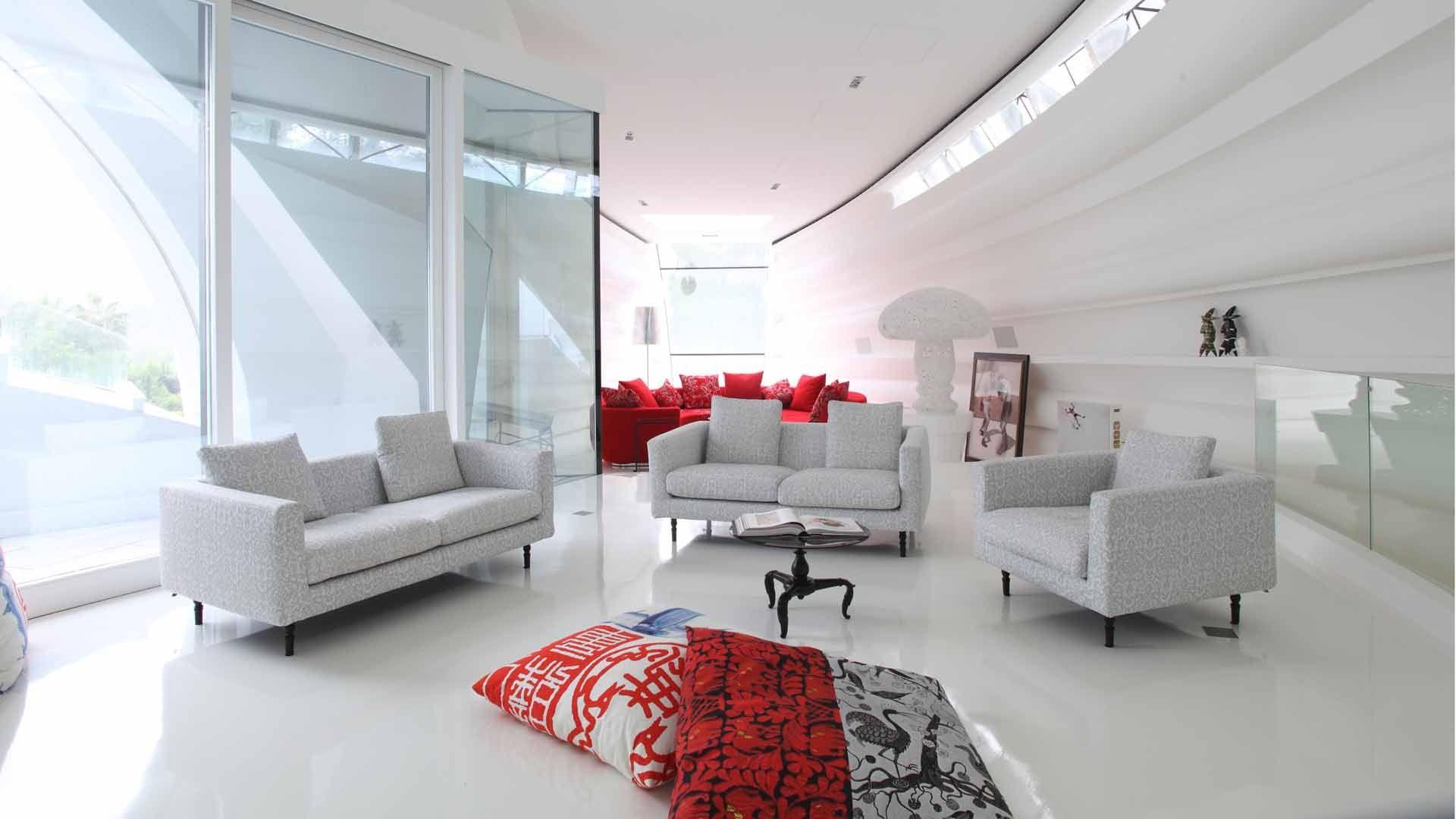 2013 futuristic cozy living room interior  modern white